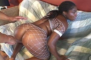 Fishnet Loving Ebony Pornstar