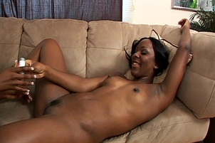 Ebony Lesbians Use Strap-on During Sex