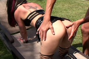 Leather Clad Fetish Babe Gets Dirty in Fetish DP Threesome