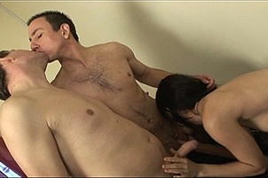 Secretary Jerks Off Two Bisexual Dudes