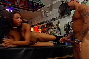 Black Stripper Screwed Over Pool Table