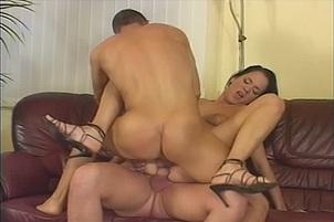 Brunette Valentina Sucks And Fucks Two Dicks