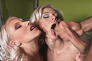 Two Hot Blondes A Strap-on And A Hard Dick