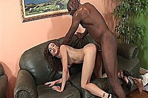 Brunette With Shaved Pussy Sucks And Fucks Black Cock